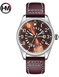 Correa de Cuero de Moda Relojes de Pulsera Reloj de Pulsera de Cuarzo para  Hombre Hannah 437b50569d8