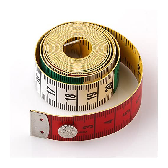BEESCLOVER 60 /150cm Leather Body Measuring Ruler Sewing Cloth Tailor Tape Measure Soft Flat Ruler with Button