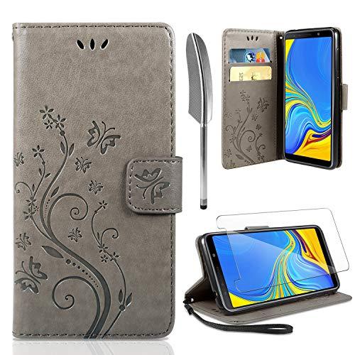 AROYI Lederhülle Samsung Galaxy A50 Flip Hülle + panzerglas, Samsung Galaxy A50 Wallet Case Handyhülle PU Leder Tasche Case Skin Ständer Schutzhülle für Samsung Galaxy A50 grau - Wallet Skin Case