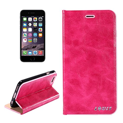 Wkae Crystal Texture PC Full Coverage Horizontale Flip Leder Tasche mit Halter & Card Slots für iPhone 6 & iPhone 6s ( Color : Brown ) Magenta