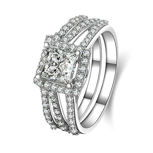 Daesar Joyería Anillo Compromiso Plata 925 Personalizado Halo de 3 Filas Micropavé Diamante Imitación Doble Banda Sortijas para Mujer Tamaño 20