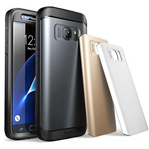 SUPCASE Samsung Galaxy S7 Hülle Wasserresistent Handyhülle Ganzkörper Robustes Gehäuse Schutzhülle mit integriertem Displayschutz / Zubehör + 3 Austauschbare Abdeckungen (Space Grau / Silber / Gold)