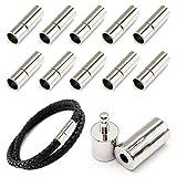 MOAMUN 20 PC Cable Tapones Para Joyero, Empuje Cierres Para Cuero Cuerda Collar Pulsera Hebilla (Plata, 3mm)