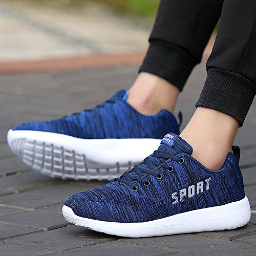 Chaussures de Sport Running Compétition Sneakers Basses Baskets Entraînement pour Homme Blanche Bleu Rouge Bleu