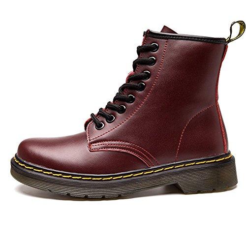 SITAILE Unisex-Erwachsene Bootsschuhe Derby Schnürhalbschuhe Kurzschaft Stiefel Winter Boots für Herren Damen Gefüttert Rot