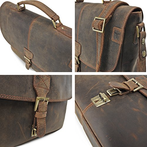 Robuste Aktentasche aus Leder, Lehrertasche Leder mit Laptopfach bis 13' DIN A4 Laptoptasche Damen aus Leder von URBAN FOREST - 40 x 28 x 10 cm, Farbe:Schwarz Cognac