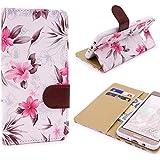 Funda Wallet Floral LG K4 , URCOVER Carcasa Estuche con Tapa LG K4 Elegante Femenina Card Slot Billetera Proteccíon Completa Smartphone en Blanco