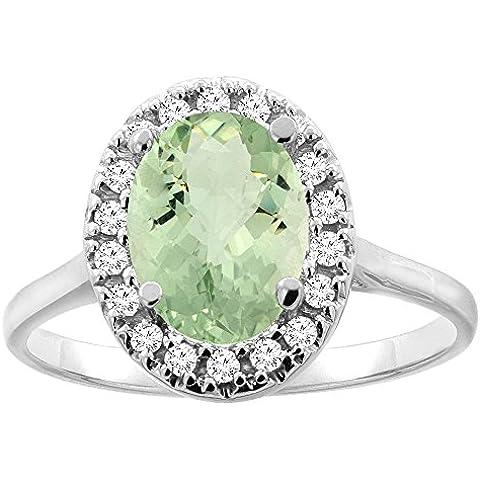Revoni-Catenina in oro 14 k con ametista verde Halo anello, 9 x 7 mm, taglio diamantato