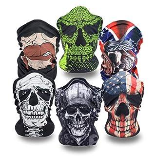 6PCS Multifunctional Headwear Headbands Bandana Seamless Magic Scarf Tube Mask UV Insect Shield Sport Men Women Unisex (#Bright Color) (#Skull)