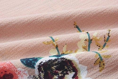 QIYUN.Z Frauen Beiläufige Blumen Gedruckte Sommer Kurzschlußhülsenoberseiten Kakifarbige T-Shirts Khaki