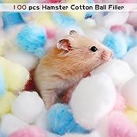 HYGMall 100 UNIDS / 1 BAG Cama Térmica Home Hamster Bola de Algodón Mascotas Pequeños Animales Nido Caliente bola de algodón relleno de Mascotas Para conejillo de Indias bola de algodón chinchilla (Multicolor)