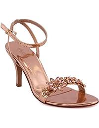 Zapatos de punta abierta Unze London para mujer W4APKmnG0N
