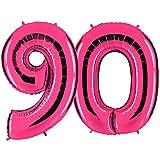 PartyMarty Ballon Zahl 90 in Pink - XXL Riesenzahl 100cm - zum 90. Geburtstag - Party Geschenk Dekoration Folienballon Luftballon Happy Birthday Rosa GmbH