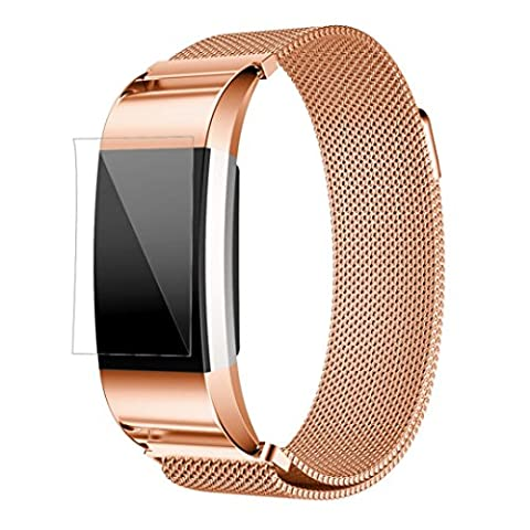 Toamen For Fitbit Charge 2 Milanese Stainless Steel Watch Band