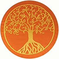 Preisvergleich für maylow - Yoga mit Herz Yogakissen Meditationskissen mit Stickerei Baum des Lebens 33x15cm mit Dinkelspelz gefüllt - Bezug und Inlett 100% Baumwolle