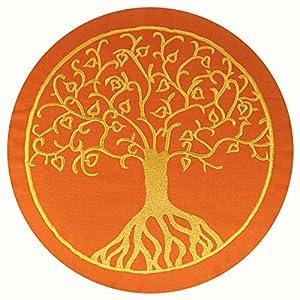maylow Yoga mit Herz – Yogakissen Meditationskissen mit Stickerei Baum des Lebens 33x15cm mit Dinkelspelz gefüllt – Bezug und Inlett 100% Baumwolle