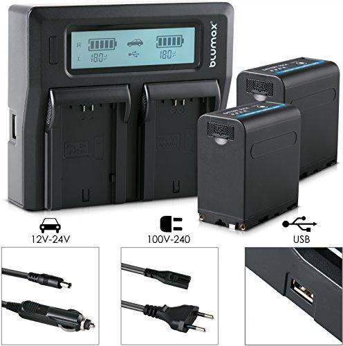 Blumax 2X Akku für Sony NP-F980 / F970 / F750 / F550-10050mAh mit 5V USB Ausgang (Powerbankfunktion) und DC Strom-Eingang + Doppelladegerät Dual Charger || KFZ 2 Akkus gleichzeitig Laden