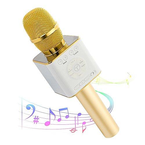 Micrófono Inalámbrico Bluetooth Portátil 3 in 1 Multifuncional Micrófono USB Micrófono Mini Karaoke Compatible con  iPhone/ iPad/PC/Smartphone Baterí de 2600mAh(Dorado)