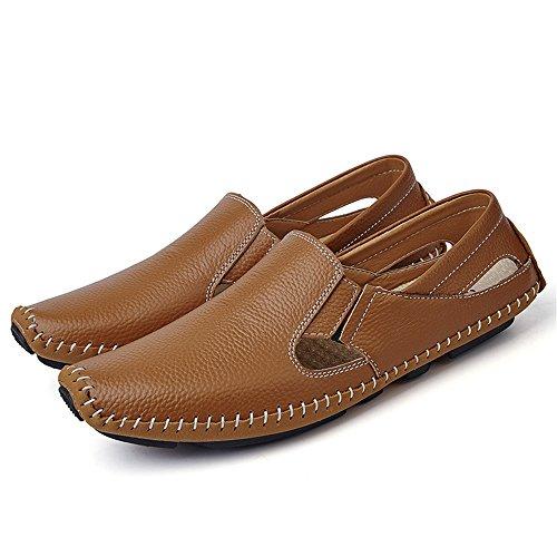 Herren Flat Driving Schuhe Leder Loafer Flats Slip-On Mokassins Perforiert Casual Schuhe Braun