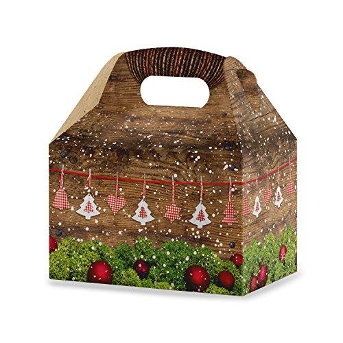 10 Stück Schachteln Weihnachten weihnachtlich ROT WEISS KARIERT grün braun natürlich 12,5 x 18,6 x 12 cm Geschenk-Karton Weihnachts-Verpackung Kunden-Geschenke Verpacken