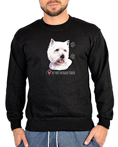 West Highland Terrier Sweater Hunde Motiv Pullover Sweatshirt: West Highland Terrier Gr M (Fb schwarz) (West Terrier Highland Sweatshirt)