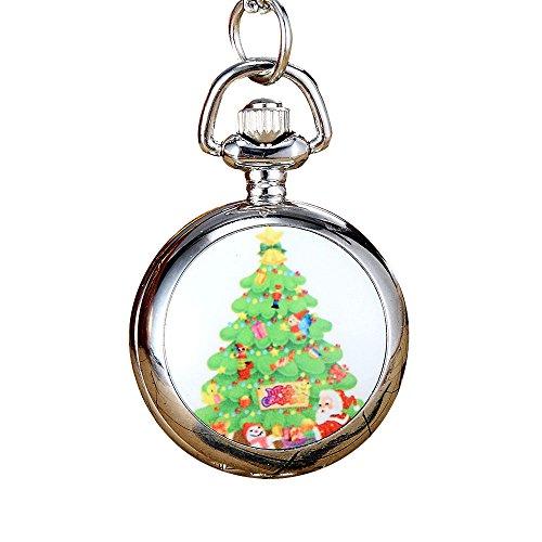 Rosepoem Weihnachtsmann Taschenuhr Quarz-Schmuck Anhänger Weihnachten Geschenk Dekoration Silber