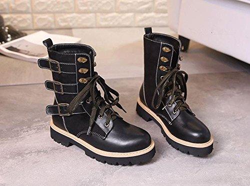 &zhou Femme Martin bottes automne et l'hiver coton bottes de camouflage de la mode Black