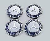 Alufelgen-Felgendeckel von eMarkooz, beste Passform für Mercedes-Benz, silber und blau, verchromt, 75 mm, 4 Stück
