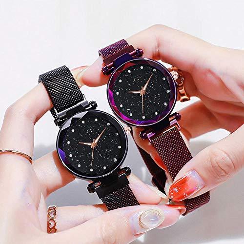 QWRjj Reloj de Pulsera Luxus Frauen Uhren Magnetische Starry Sky Weibliche Uhr Quarz Armbanduhr Mode...