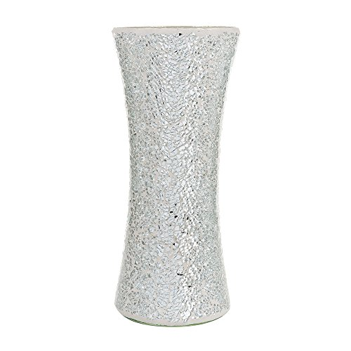 Decorative Glittery Sparkled Mosaic Flower Vase gift present (Cylinder Silver)