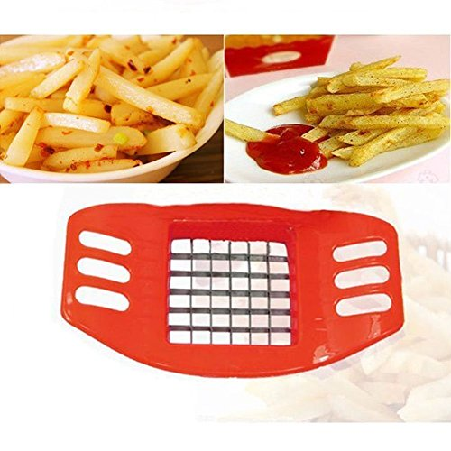 ELV French Fries Cutter Potato Chip Cut Cutter Vegetable Fruit Slicer Chopper - Red  available at amazon for Rs.159