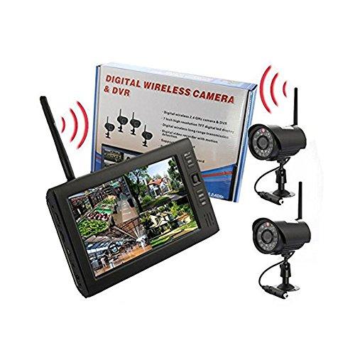 ele ELEOPTION Digital WLAN Überwachungskamera Babyphone Baby Monitor 7 Zoll LCD Monitor DVR 2,4GHz Videoüberwachung Kamera Unterstützung Foto IR Nachtsicht Bewegungserkennung (mit 2 Kameras) - Digitale Lcd-dvr