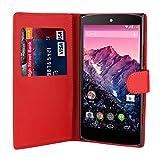 32nd Schutzhülle handytasche im Brieftaschenstil aus PU-Leder, für Huawei Nexus 6P (2015), inklusive reinigungstuch und eingabestift - Rot