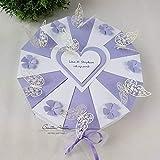 Hochzeitsgeschenk - Schachteltorte m. Schmetterlingen & Blumen - Butterfly FLIEDER-WEISS - Geldgeschenk, Geschenkidee Hochzeit