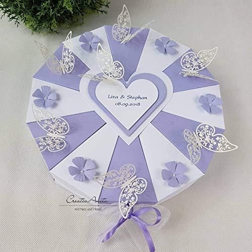 Hochzeitsgeschenk - Schachteltorte m. Schmetterlingen & Blumen - Butterfly LAVENDEL-WEISS - Geldgeschenk, Geschenkidee Hochzeit (M M Und Gutscheine)