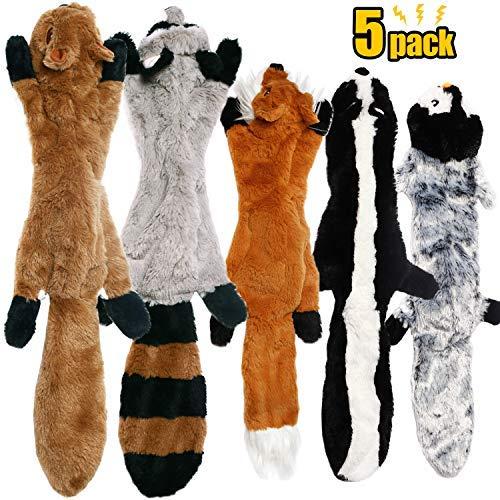 CNMGBB - Juego de Juguetes para Perros con chirriadores, Resistentes, sin Relleno, para Perros de tamaño Mediano y Grande, 5 Paquetes (crucón de Ardilla y pingüino de 24 Pulgadas)