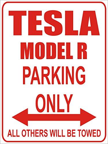 INDIGOS - Parkplatz - Parking Only- Weiß-Rot - 32x24 cm - Alu Dibond - Parking Only - Parkplatzschild - Tesla Model r