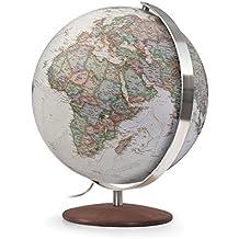 Fusion 3001 Executive: Leuchtglobus 30 cm, Antikdesign von National Geographic, Edelstahlmeridian, Echtholzfuß Thermoesche (Alter Globus)