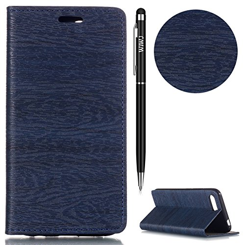 Huawei Honor 10 Hülle,Huawei Honor 10 Leather Handyhülle,WIWJ Handyhülle Wallet Case[Baum Linien Automatische Absaugung Leder Case]Schutzhüllen für Huawei Honor 10-Dunkelblau