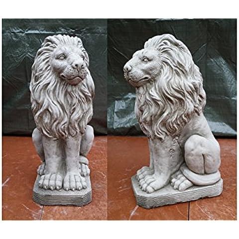 Leones Sentados–Estatua Mano Piedra adorno de jardín/Grande/Escultura