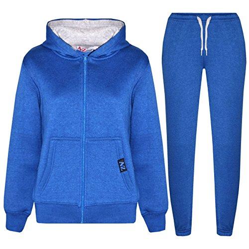 A2Z 4 Kids® Kinder Trainingsanzug Mädchen Jungen Vlies - T.S Contrast Trim Royal & Grey 5-6 Royal Trim