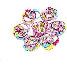 50pcs Assorted color alta elástica bebé niños niños niña gomas para el pelo bandas cuerda de pelo Ponytail Holders diadema Coletero Pelo Accesorios no deslizamiento engancharse Breaking o Stretching Out