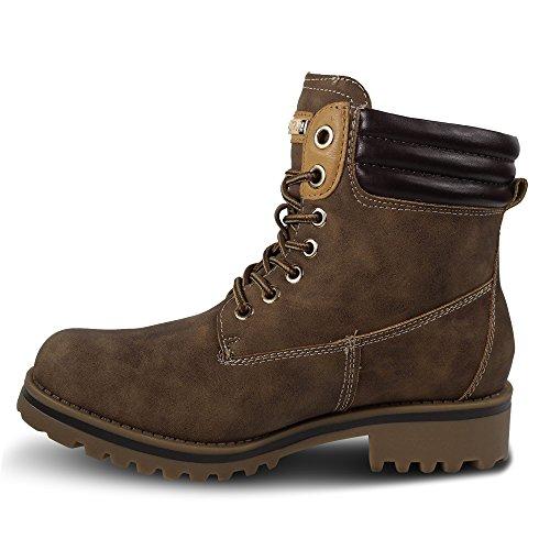 Damen Worker Boots Stiefeletten Stiefel Outdoor ST412 Schnürboots Khaki