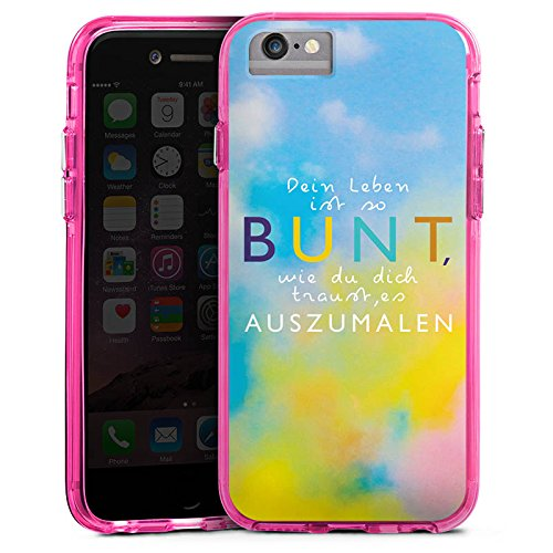 Apple iPhone 6s Bumper Hülle Bumper Case Glitzer Hülle Visual Statements Motivation Spruch Bumper Case transparent pink