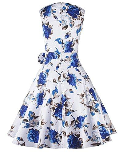 Femmes Robe Années 50 Hepburn Motif Fleurs Sans Manches Robe Soirée Cocktail Bleu
