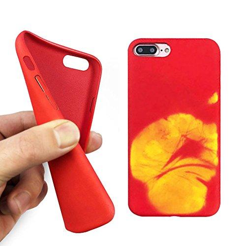 iPhone 8 / iPhone 7 Hülle,UltraSlim Thermo Sensor Fluoreszierende Thermo Hitze Induktion matt weich PC Schutzhülle Handyhülle Tasche für Apple iPhone 7 8 4.7 Zoll mit Farbwechsel Back Case Cover Sensor-Gelb handabdruck
