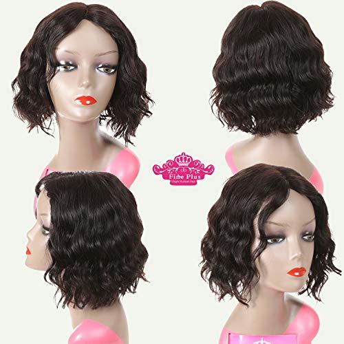 Parrucca di capelli umani vergini brasiliani, densità piena 150%, corti, ricci, colore naturale, con parte frontale in pizzo, lunga 30,5 cm, per donne di colore