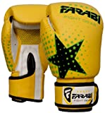 Kids Boxing gloves, MMA, Muay thai junior punch bag mitts Yellow 6Oz by Farabi