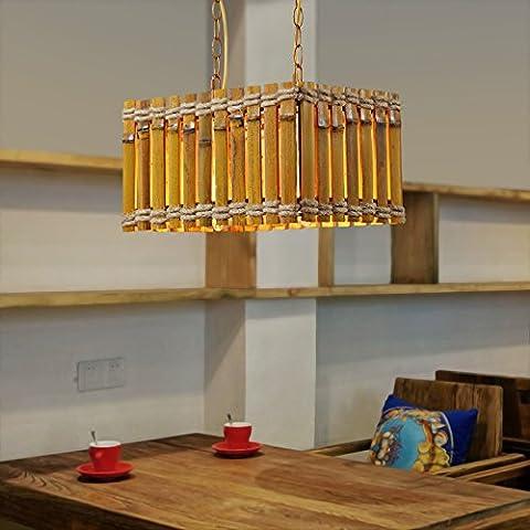 Ancernow E27 caldo creativo moda lampade a sospensione Lampadari Seppia sisal piazza di legno #12-1477