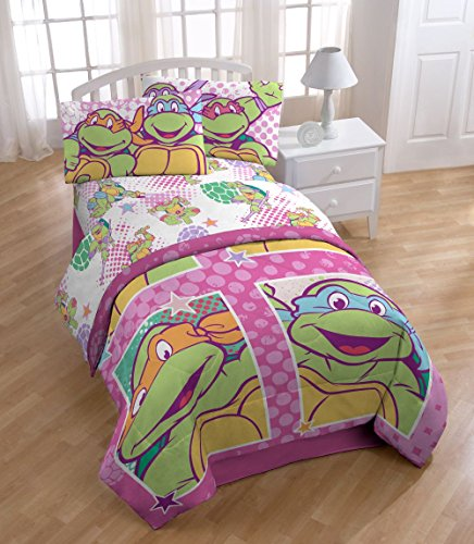 Nickelodeon Teenage Mutant Ninja Turtles Sterne Mischgewebe Baumwolle Polyester Full 4Stück Bogen Set, I Love TMNT, Volle Größe